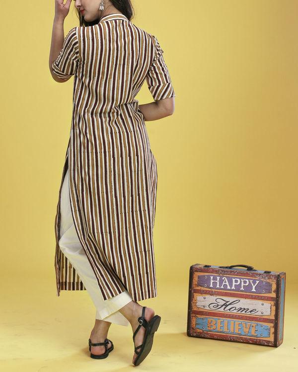 Brown striped kurta 3