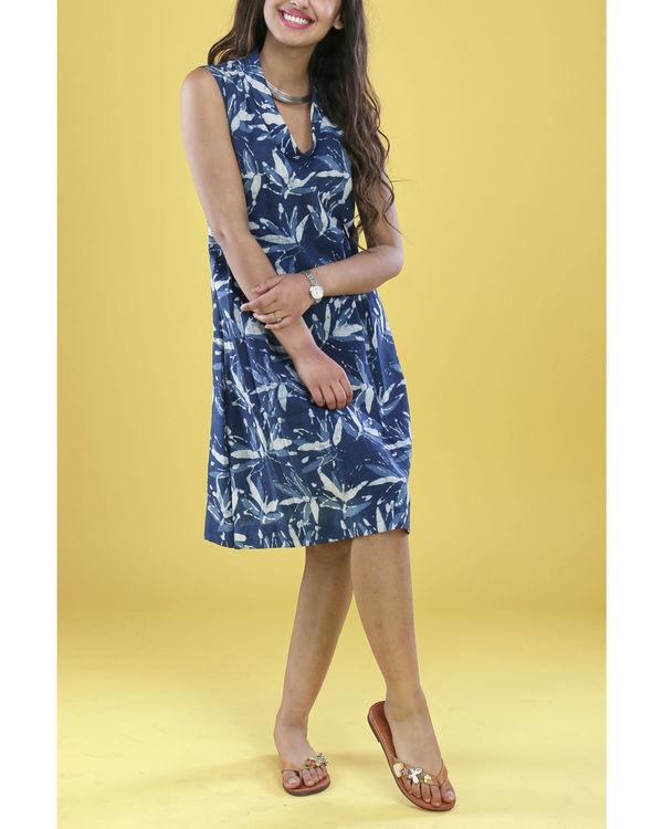 Indigo floral cowl dress 1