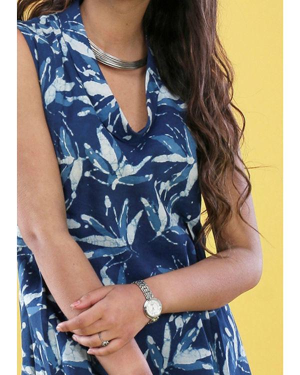 Indigo floral cowl dress 2