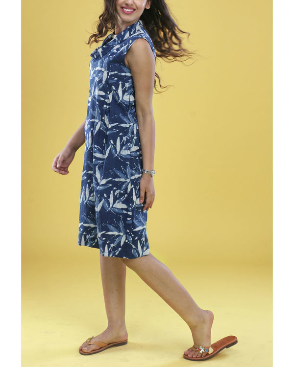 Indigo floral cowl dress 3