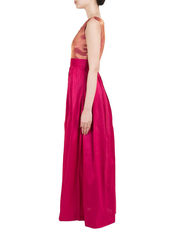 Pink asymmetric pleated dress 1