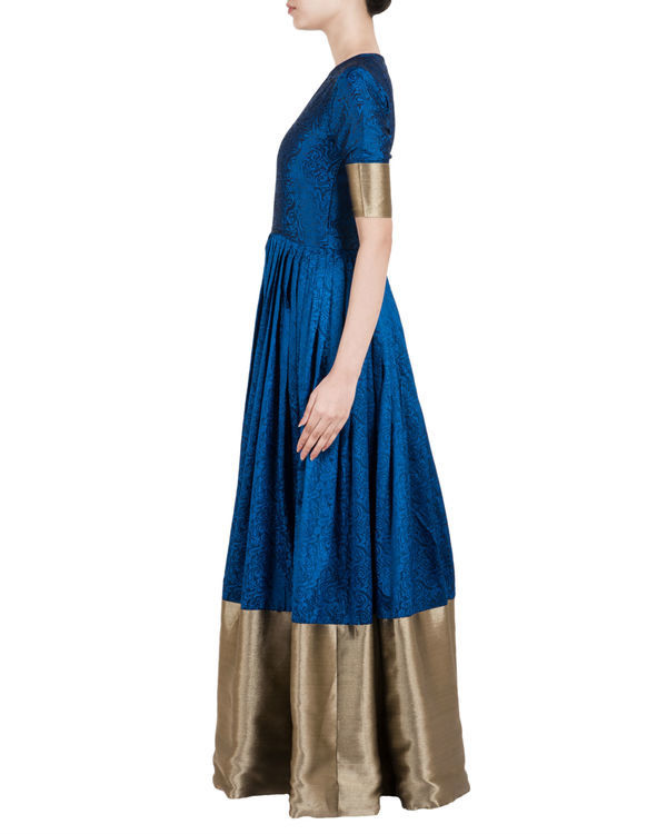 Blue and gold ballroom gown 1