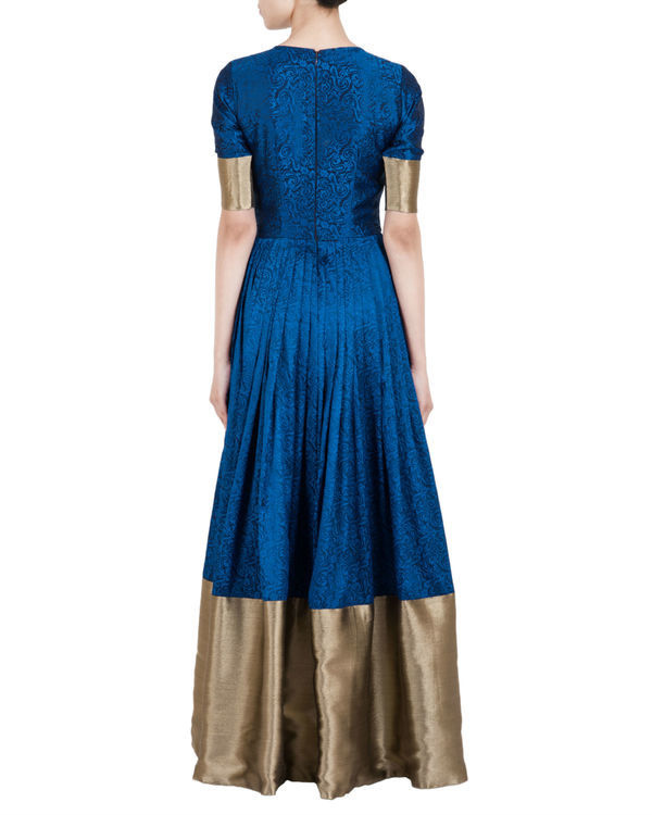 Blue and gold ballroom gown 2