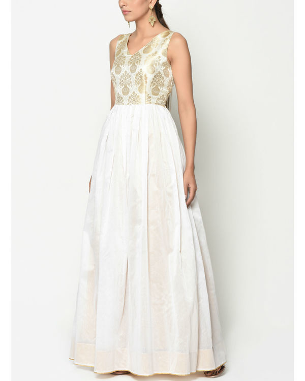 White brocade flare dress 1