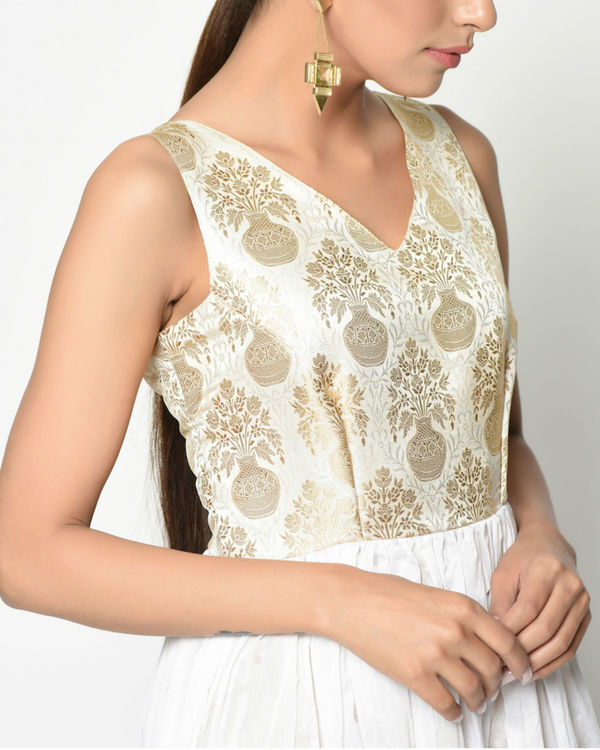 White brocade flare dress 2