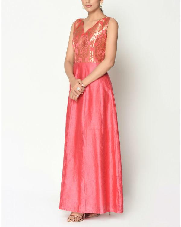 Coral brocade flare dress 1