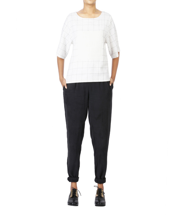 Front pleated cupro  pants with elasticated bottom hem 1