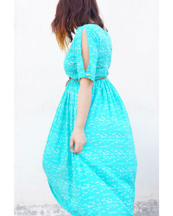 Turquoise flared dress 1