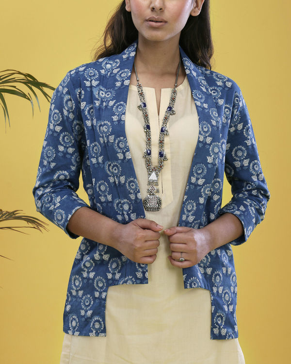 Set of indigo jacket with beige kurta 1