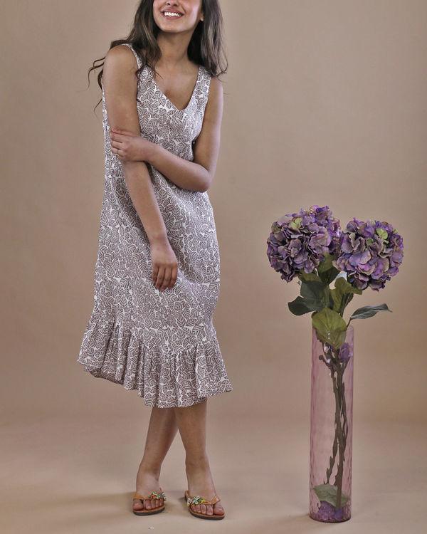 Grey leaf ruffled dress 1
