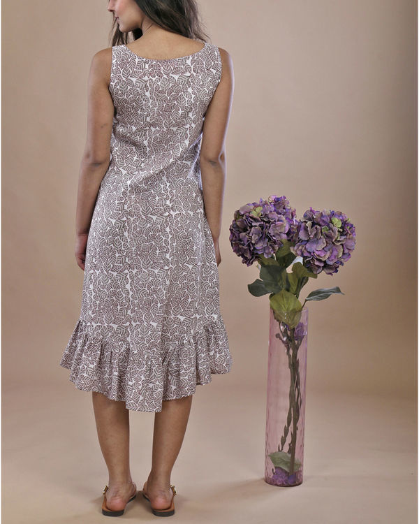 Grey leaf ruffled dress 4