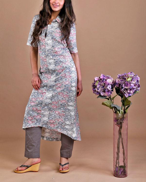 Grey floral kurta set 1