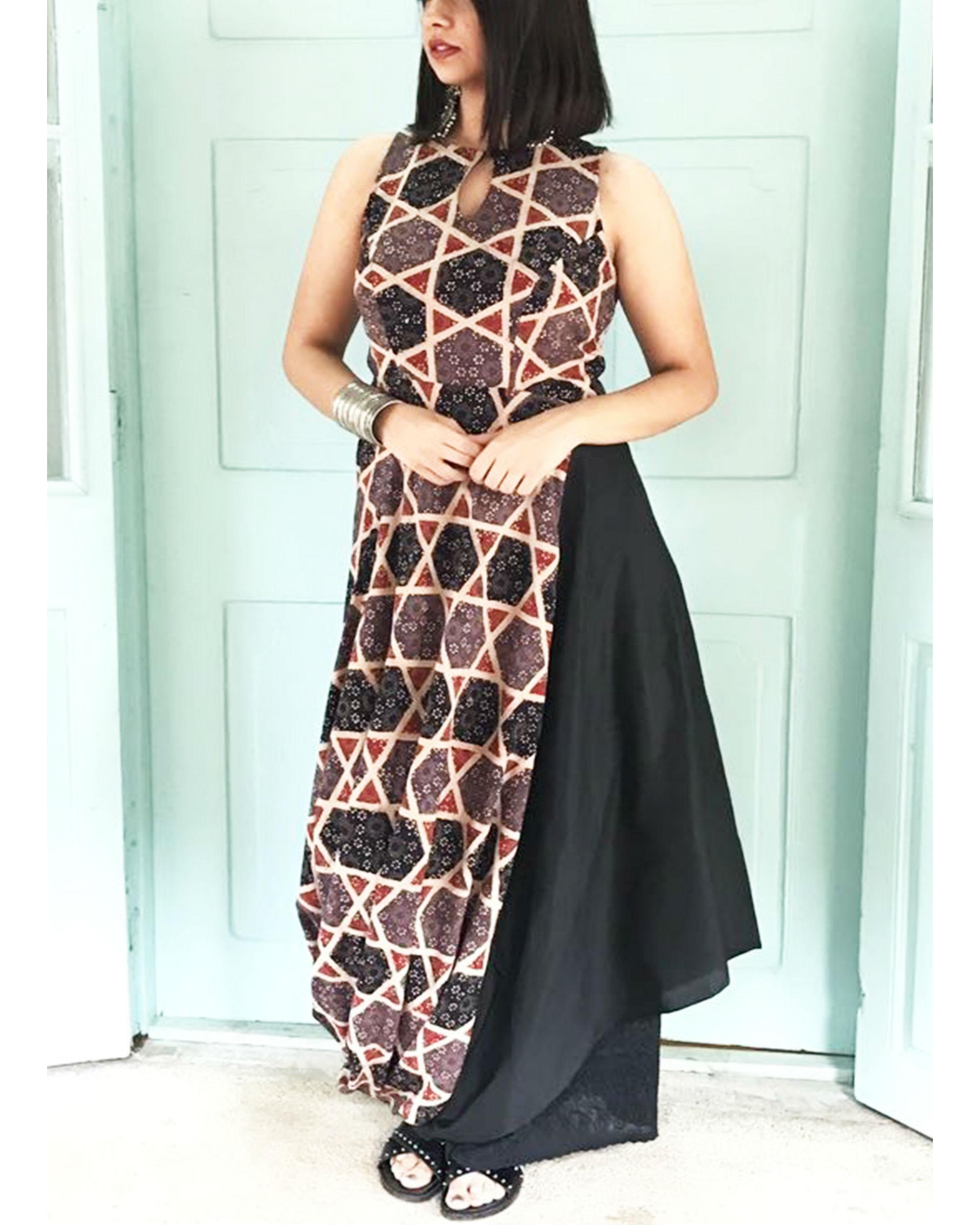 Cowl Dress: Ajrakh Cowl Dress By Drishti And Zahabia