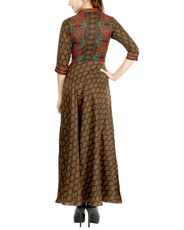 Coffee printed dress 2
