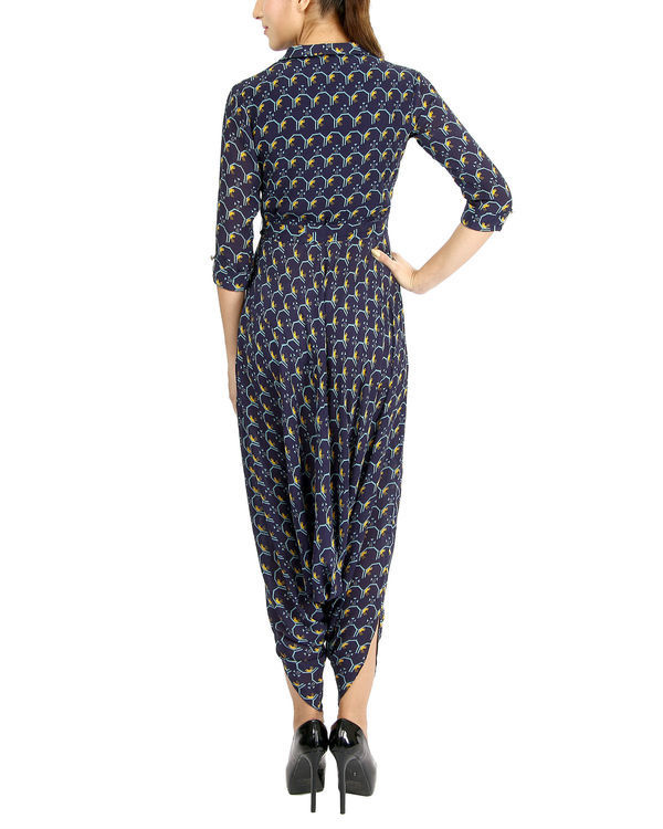 Navy bird print jumpsuit 1