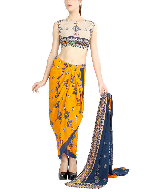 Mustard and blue draped sari 1