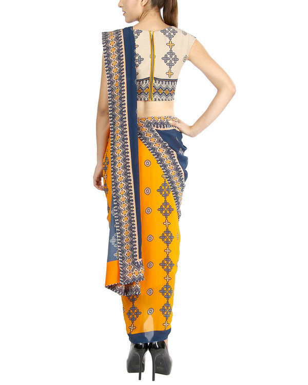 Mustard and blue draped sari 2