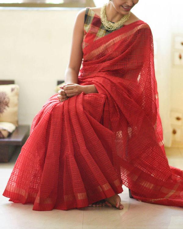 Handloom scarlet sari 1