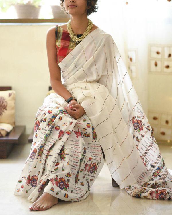 White manuscript sari 1