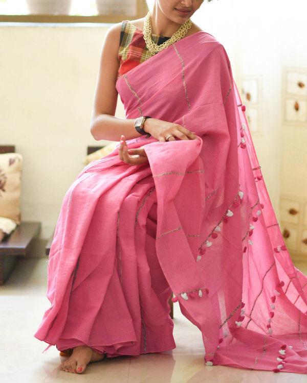 Lotus pink tassel sari 1