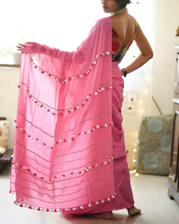 Lotus pink tassel sari 2