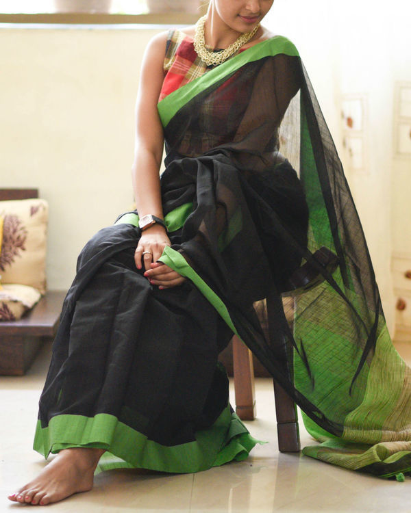 Parrot green and black sari 1