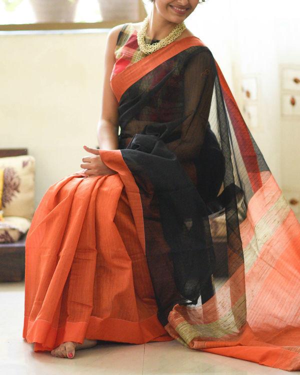 Orange and black handloom sari 1