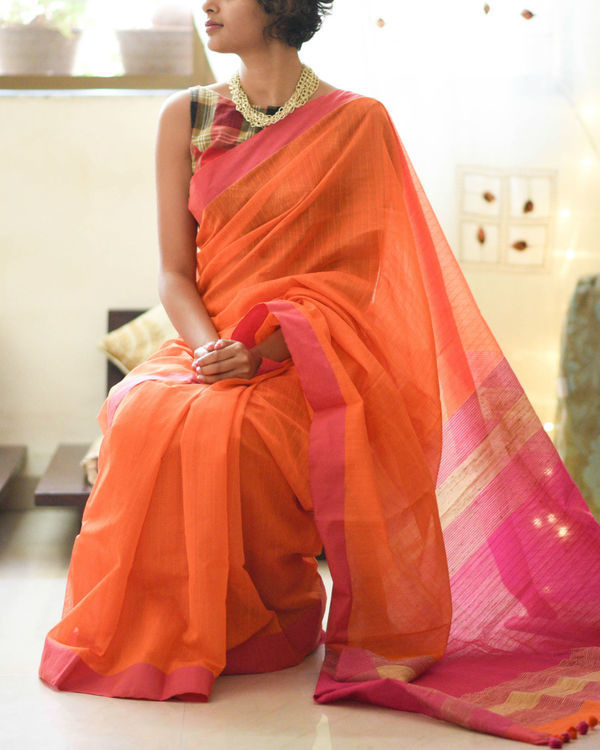 Rose and saffron sari 1