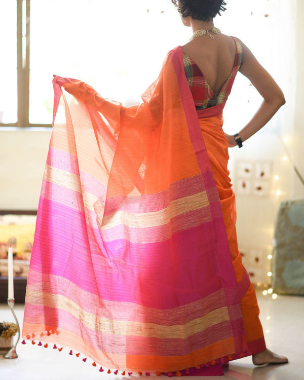 Rose and saffron sari 2