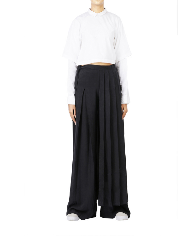 Black cupro front pleated pants 1