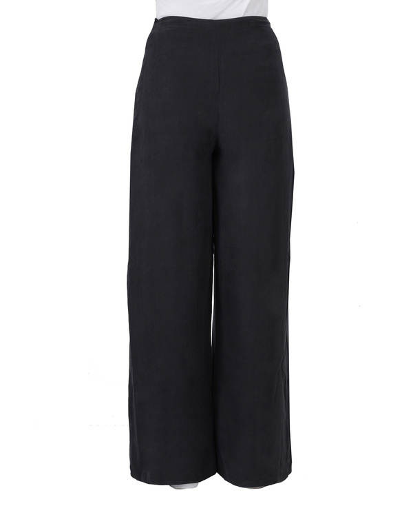 Black cupro front pleated pants 2