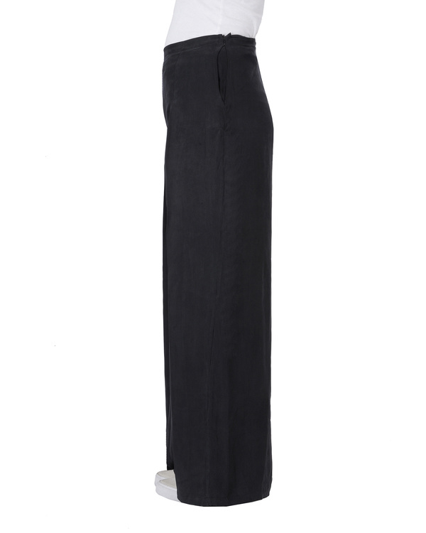 Black cupro front pleated pants 3