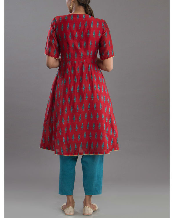 Deep red anarkali kurta 2