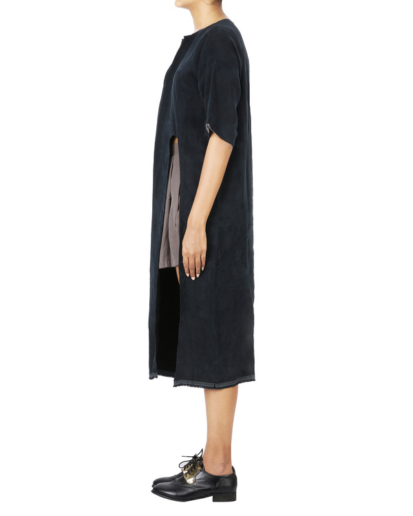 Charcoal black boho dress with side slit 2