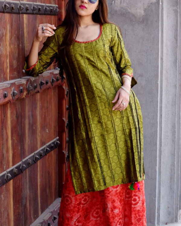 Olive silk tunic with palazzo 1