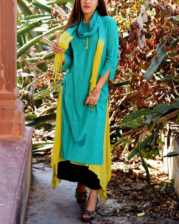 Turquoise and lime tunic with stole 1