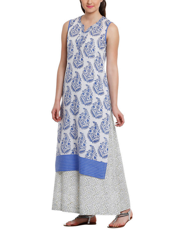 Blue leaf print tunic with palazzos 2