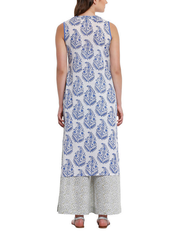 Blue leaf print tunic with palazzos 3