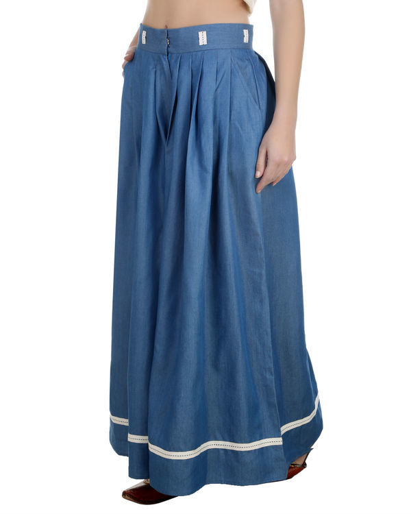 Denim pleated palazzos 1