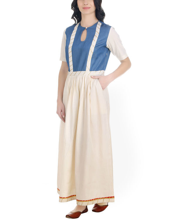 Denim and muslin gathered dress 1
