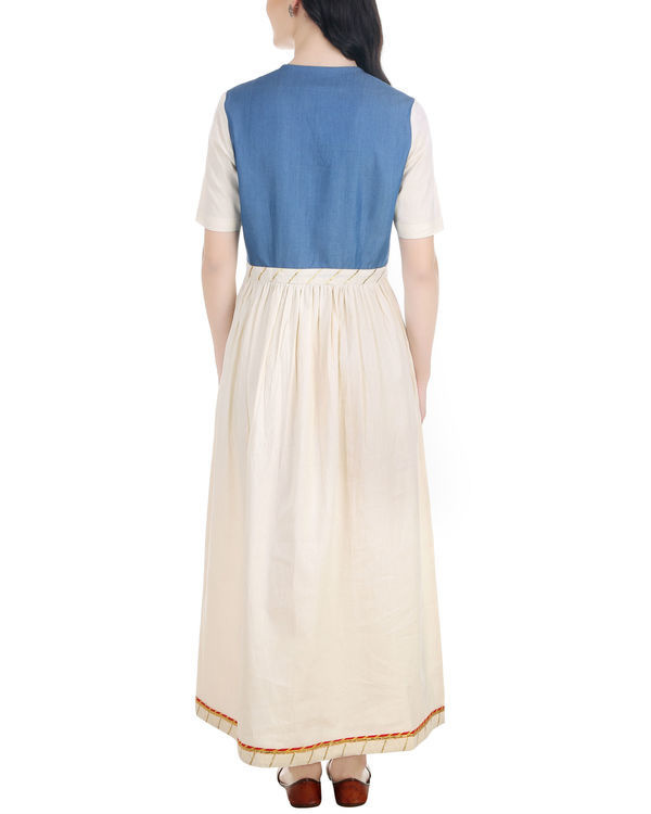 Denim and muslin gathered dress 3