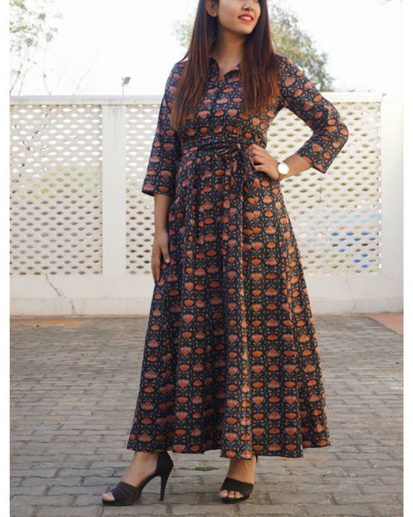 Black kalamkari flared maxi 1