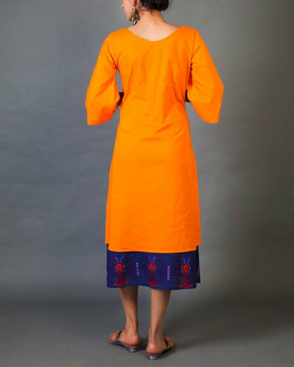 Tangerine faux layer dress 2