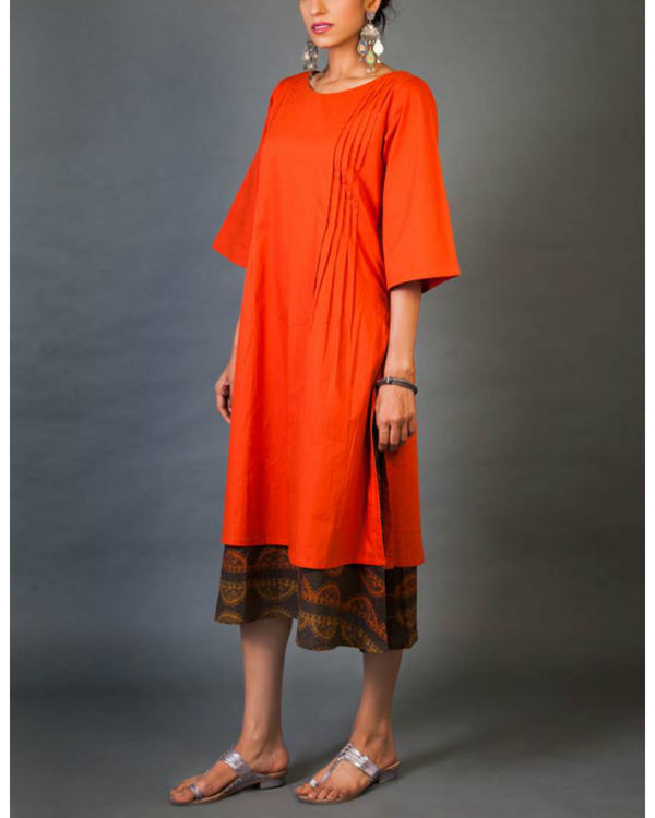 Crimson faux layered dress 1