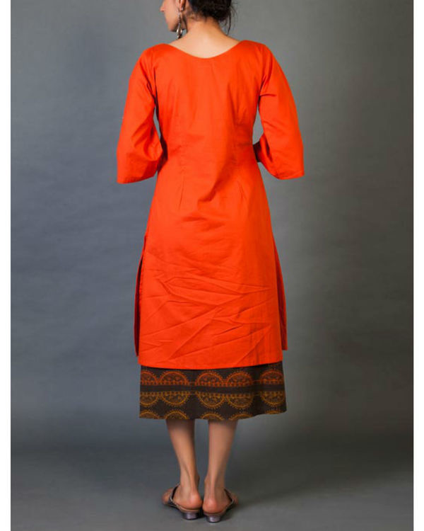 Crimson faux layered dress 2