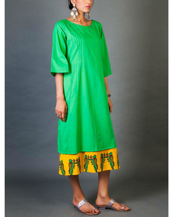 Green and yellow faux layered dress 1