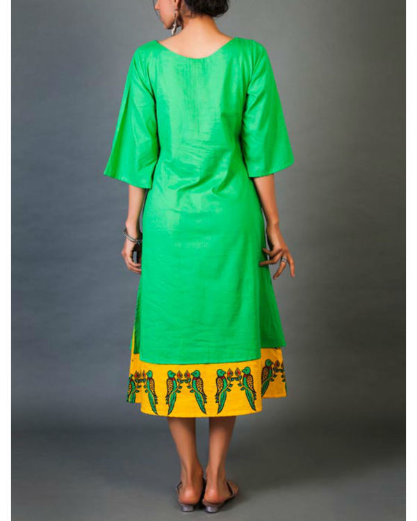 Green and yellow faux layered dress 2