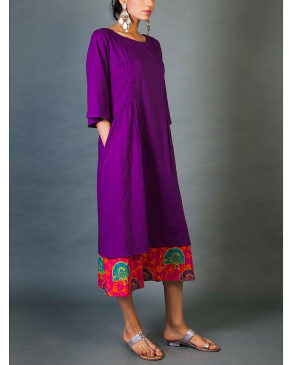 Violet and pink faux layered dress 1