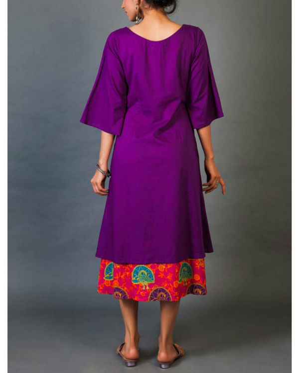 Violet and pink faux layered dress 2