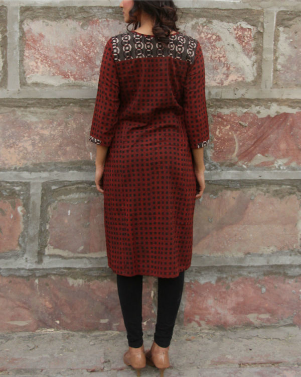 Maroon checkered pocket tunic 2